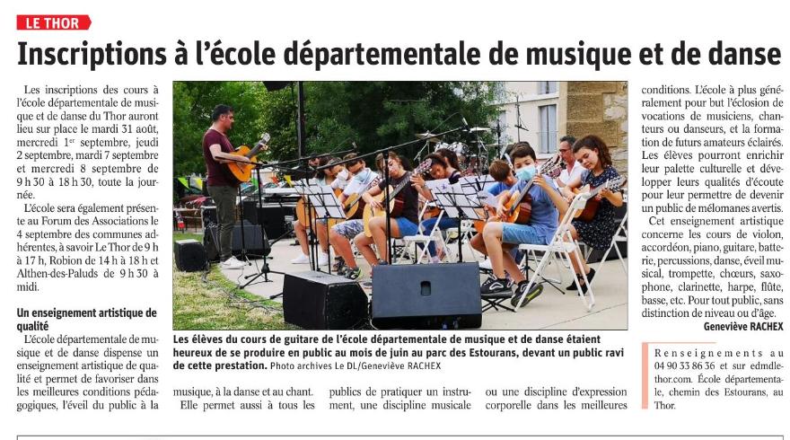 Article inscriptions ecole de musique et danse le thor